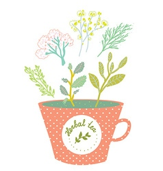 Herbal tea cup - retro style vector