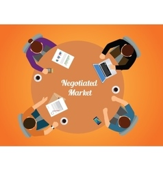Negotiated market team work together view from top vector