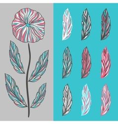 Abstract flower and leaves vector