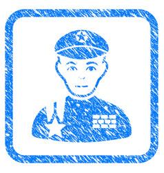 Army general framed stamp vector