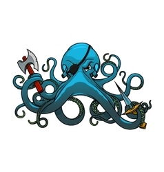 Cartoon octopus pirate with axe and sword vector