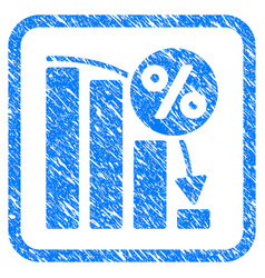 Falling percent bar chart framed stamp vector