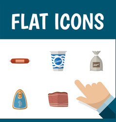 Flat icon food set of beef canned chicken vector