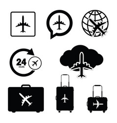 Flying icon set travel in black color vector