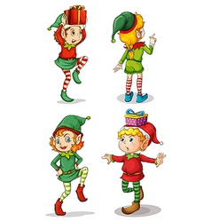 Four playful santa elves vector