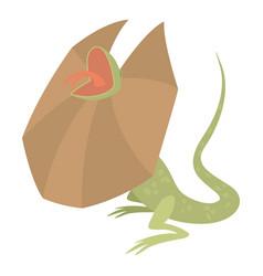 Frill necked lizard icon cartoon style vector