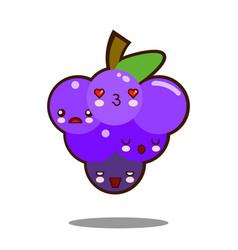 Grapes fruit cartoon character icon kawaii flat vector