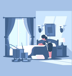 maid cleaning in hotel room vector image vector image