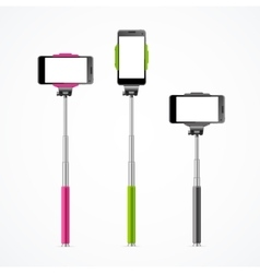 Monopod Selfie Colorful Set vector image vector image