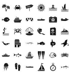 Ocean bottom icons set simple style vector