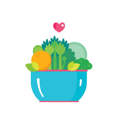 Salad bowl organic fruits and vegetables healthy vector