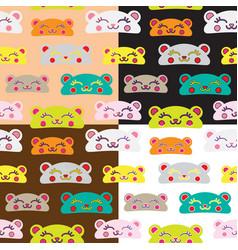 Seamless kids bear pattern set vector
