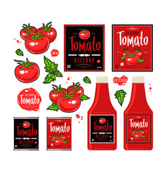 Set of template labels for tomato ketchup vector