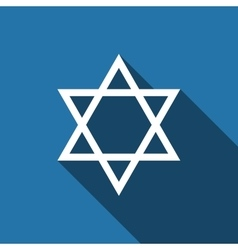 Star of David icon with long shadow vector image vector image