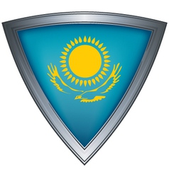 steel shield with flag kazakhstan vector image vector image