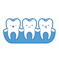 teeth kawaii with root of the tooth at sight in vector image