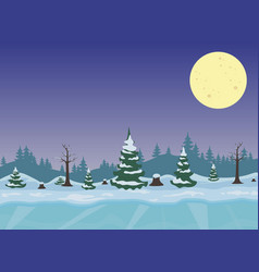 winter night landscape with forest vector image