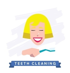 Woman cleaning teeth beautiful white teeth smile vector