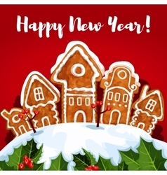 New year gingerbread town poster vector