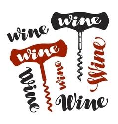 Wine corkscrew symbol winery icons vector