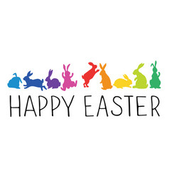 Happy easter header with bunnies silhouettes vector