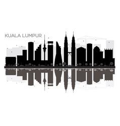 Kuala lumpur city skyline black and white vector