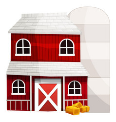 Red barn and silo on white background vector