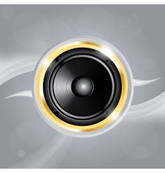 Music speaker of gold color on grey background vector