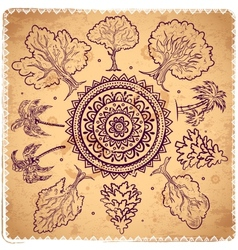 Vintage trees of life vector