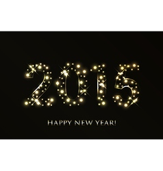 2015 Happy New Year background with gold sparkles vector image
