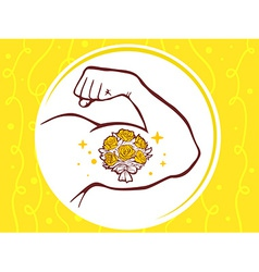 Strong man hand with icon of bouquet of vector