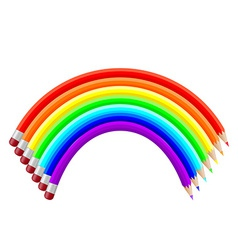 Colored pencils in the shape of a rainbow vector
