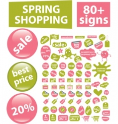 80  spring shopping signs vector
