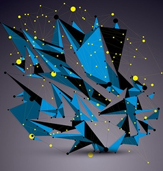 Geometric blue polygonal structure with yellow vector