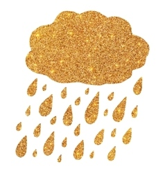 Shining golden glitter cloud with rain drops vector