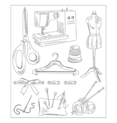 Sewing accessories in handdrawn style vector