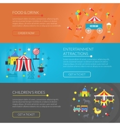 Amusement park 3 horizontal banners set vector