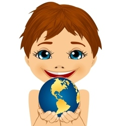 Caucasian little boy holding earth globe vector