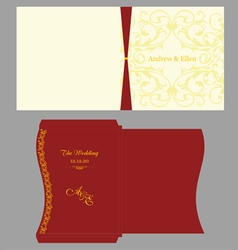 Floral square invitation with envelope vector