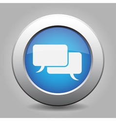 Blue metal button with speech bubbles vector