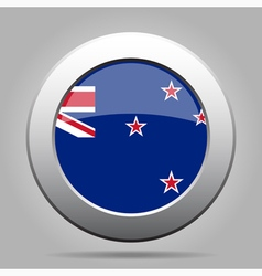 Metal button with flag of new zealand vector