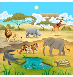 African animals in the nature vector image
