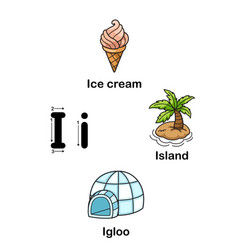 Alphabet letter i-ice cream island igloo vector