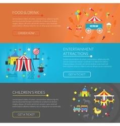 Amusement park 3 horizontal banners set vector