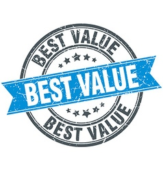 Best value blue round grunge vintage ribbon stamp vector