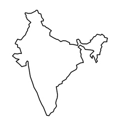 Black contour map of india vector