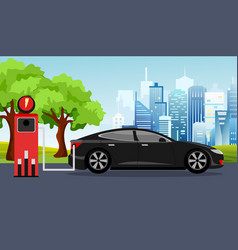 black electric car and vector image