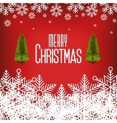 card greeting merry christmas with snowflake and vector image