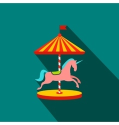 Carousel with horses flat icon vector