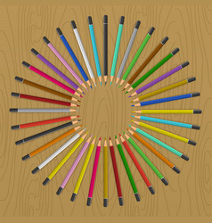 color pencils on table vector image